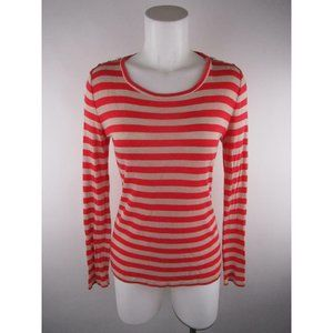 Ann Taylor Petite PM Red Striped Shoulder Knit Top